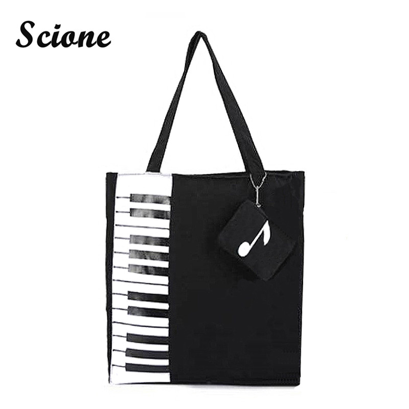 Scione New Canvas Women Bag Shopping Shoulder Bag Funny Design Piano Printing Handbag Beach Tote Woman Canvas Hand Bags 2PCS/Set цена 2016