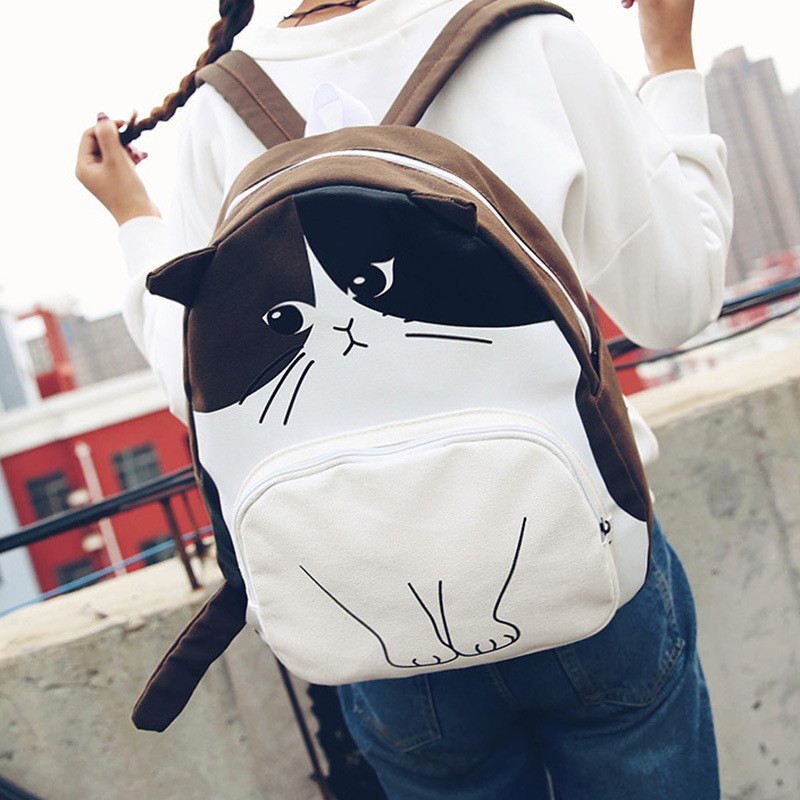 New Women Canvas Backpack Lovely Cat Printing Backpack Cute Cartoon Cat Printing Backpack School Bag for Teenage Girls Mochila in School Bags from Luggage Bags