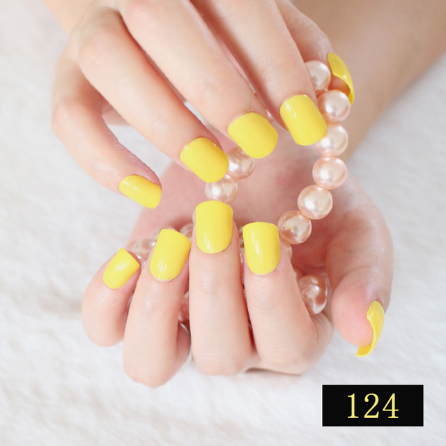 24pcs Short False Nails Lemon Yellow Candy Color Fake Nail Tips Full Wrap Acrylic Manicure Salon