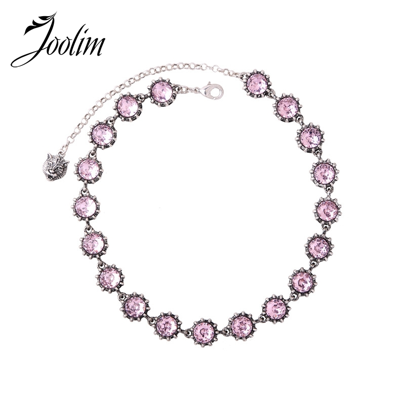 все цены на JOOLIM Luxury Simple Pink Glass Black Round Animal Head Choker Necklace Collar Necklace Fashion Jewelry