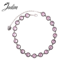 JOOLIM Luxury Simple Pink Glass Black Round Animal Head Choker Necklace Collar Fashion Jewelry