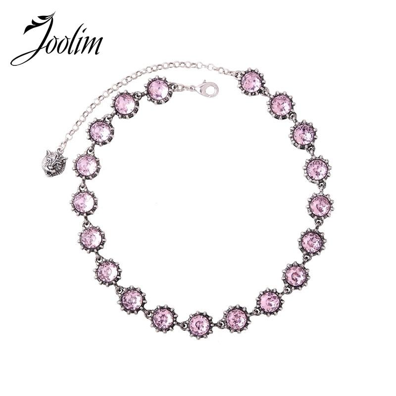 JOOLIM Luxury Simple Pink Glass Black Round Animal Head Chok