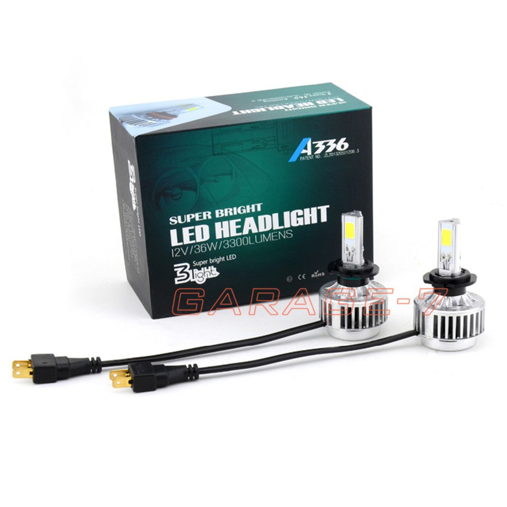 ФОТО Hot Sale New Design led A336 12V-24V 3300LM 36W 6000K H7 LED Headlight H7 CAR Auto COB LED Headlight All In One