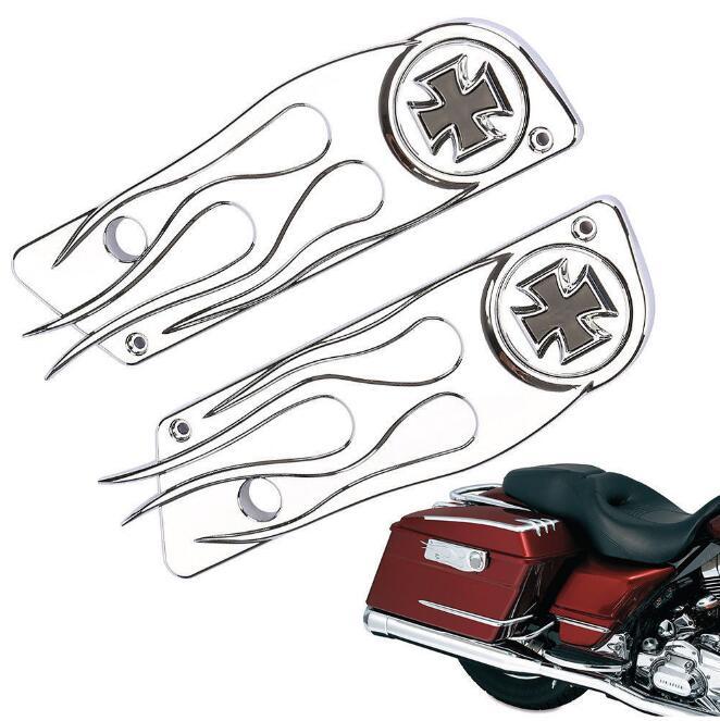 ФОТО New Maltese Cross Chrome Saddlebag Latch Cover For 93-13 Harley Touring Hard Bag