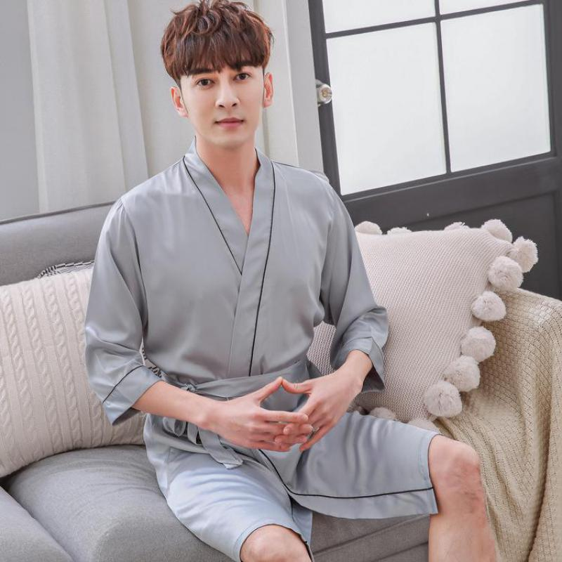Summer Rayon Men Kimono Bathrobe Printed Robe Satin Sleepwear Home Clothes Casual Male Nightgown Home Dressing Gown L XL XXL(China)
