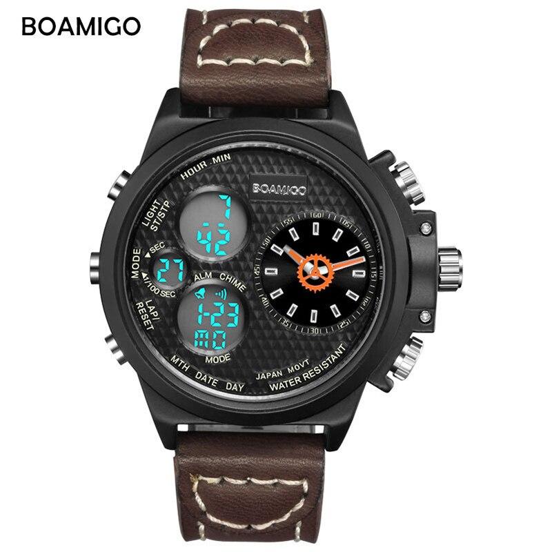 BOAMIGO Sports Quartz Watch Men Dual Display Waterproof Mens Watches Top Brand Luxury Retro Wristwatch Relojes Para Hombre New
