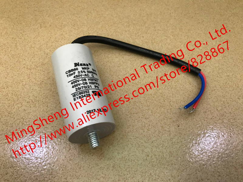 Original new 100% 450V10UF 10UF450V <font><b>450V</b></font> <font><b>10UF</b></font> 5% <font><b>CBB60</b></font> 50/60Hz lead screw end motor washing machine <font><b>capacitor</b></font> (Inductor) image
