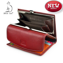 Beth Cat Short Genuine Leather Women Wallet Fashion Lady Min