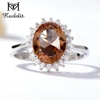 624177a24ef7 Kuololit Zultanite anillo de piedras preciosas para las mujeres 925 plata  esterlina sólida creado cambio de Color Oval corte piedra anillo de joyería  fina