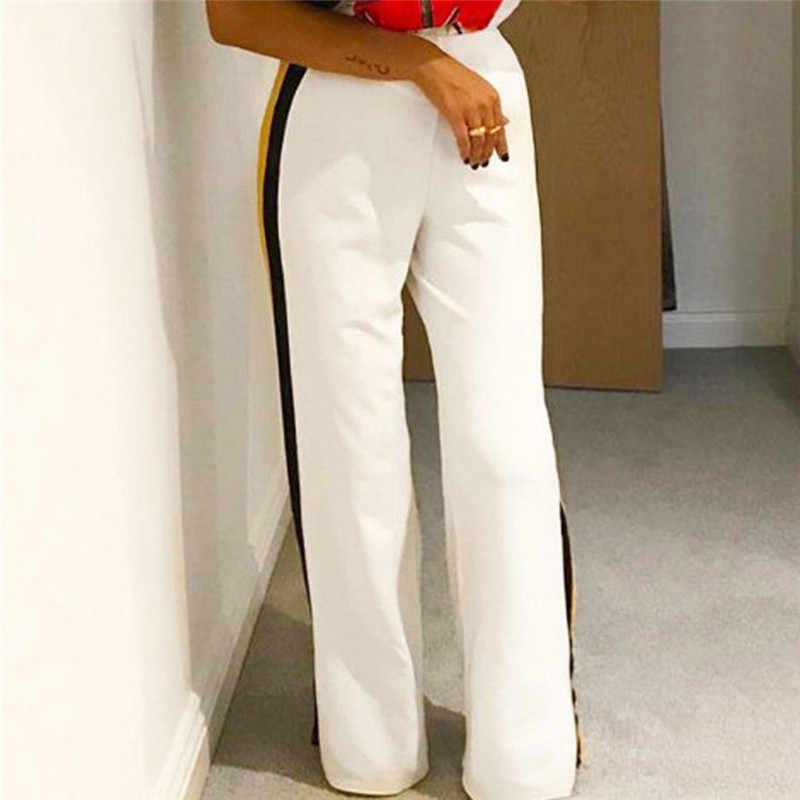 Hot 2019 New Fashion Women Casual High Waist Bandage Loose Striped Wide Leg Long Pants Trousers Dropshipping W3