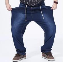 Four seasons эластичный пояс джинсы мужчины высокой талии прямые брюки мужской шнурок брюки удобрений большой размер 8XL джинсовая одежда