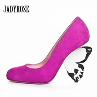 Jady Rose Sexy Butterfly Heel Women Pumps Slip On High Heels Suede Gladiator Stiletto Wedding Dress