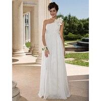 لان تينغ العروس غمد عمود واحد الكتف فستان الزفاف الطابق طول الشيفون ثوب الزفاف مع متقاطع زهرة الجانبية رايات