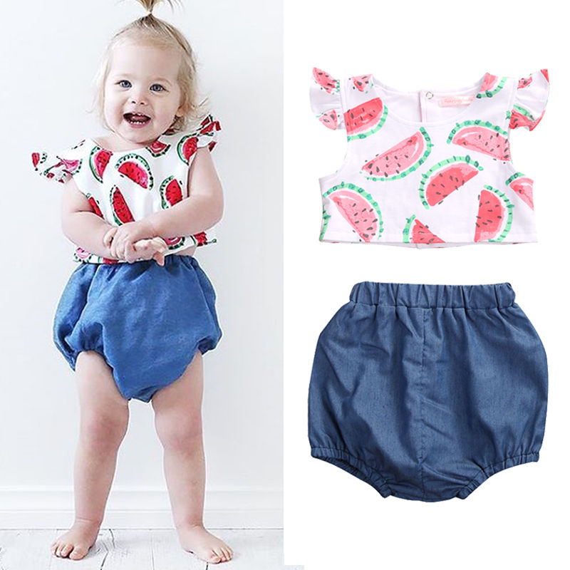 Cute Infant Newborn Girl Clothing Baby Girls Watermelon T Shirt Tops Bottoms Pants -5516