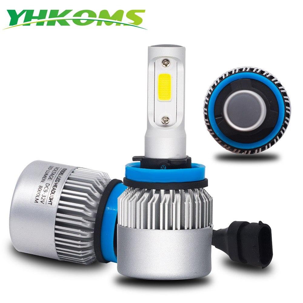 Yhkoms Авто H11 Светодиодный лампы H1 H3 H4 H7 H8 H9 H13 9004 9005 9006 880 881 автомобилей Светодиодный фар фонарь 8000lm 12 В 24 В COB Чип 6500 К