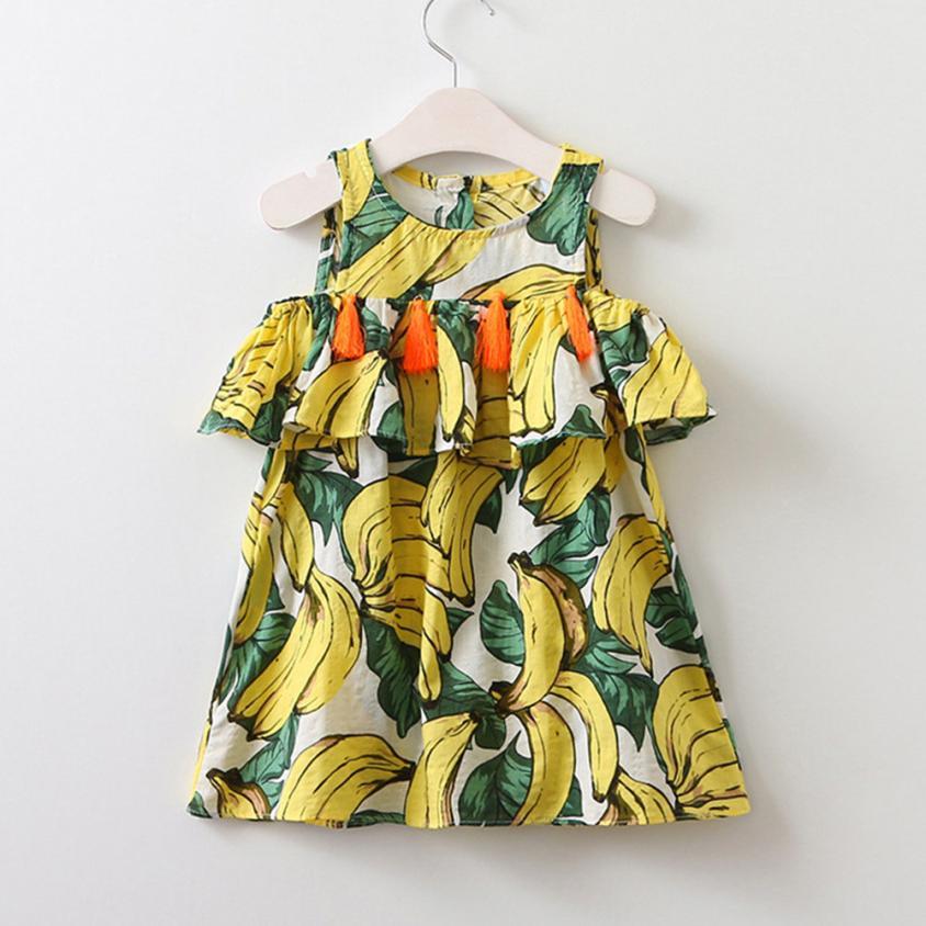 Hot Toddler Kids Baby Girls Banana bojt hercegnő ruha Sundress - Gyermekruházat - Fénykép 1