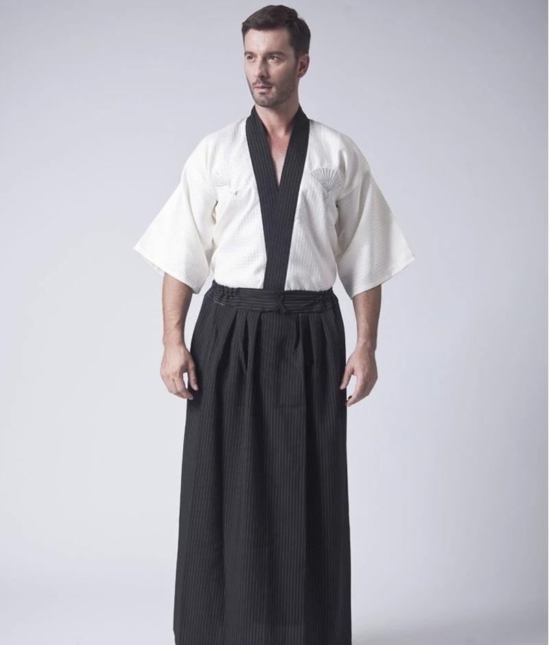 Vintage Black Japanese Men Warrior Kimono Traditional