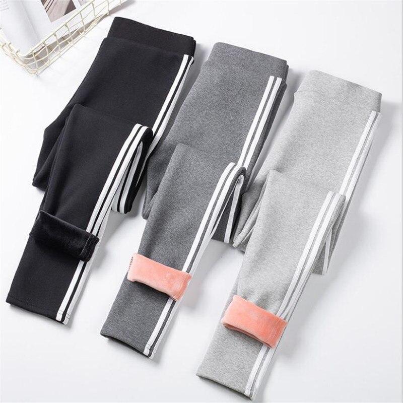 2019 New Warm Women Pants Leggings Cashmere Striped Side Female Winter Velet Leggings  Ladies Warm Casual Girls Pants Top CQ2700