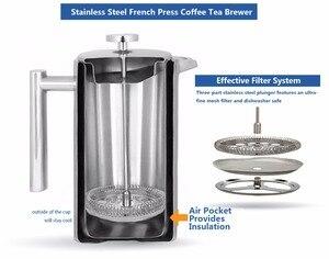 Image 5 - עיתונות צרפתית קפה תה בירה כפול קיר 1 ליטר 34 אונקיות, כבד החובה 18/10 נירוסטה תרמוס קפה Drinkware