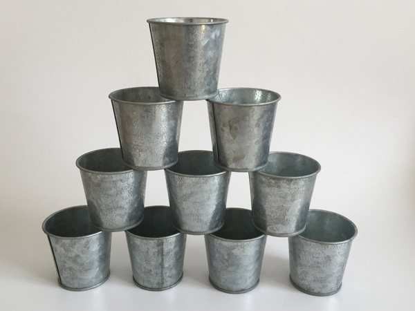 10Pcs/lot D6.5*H6CM Vintage Nostalgia Mini Garden Silver Tin Succulent Planter Mini Galvanized Buckets for small plant