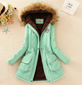 11 Colors Women Hooded Long Slim Warm Coat Winter Cotton-padded Female Fur Collar Zipper Jacket Outerwear 2016 New Fashion ZP423