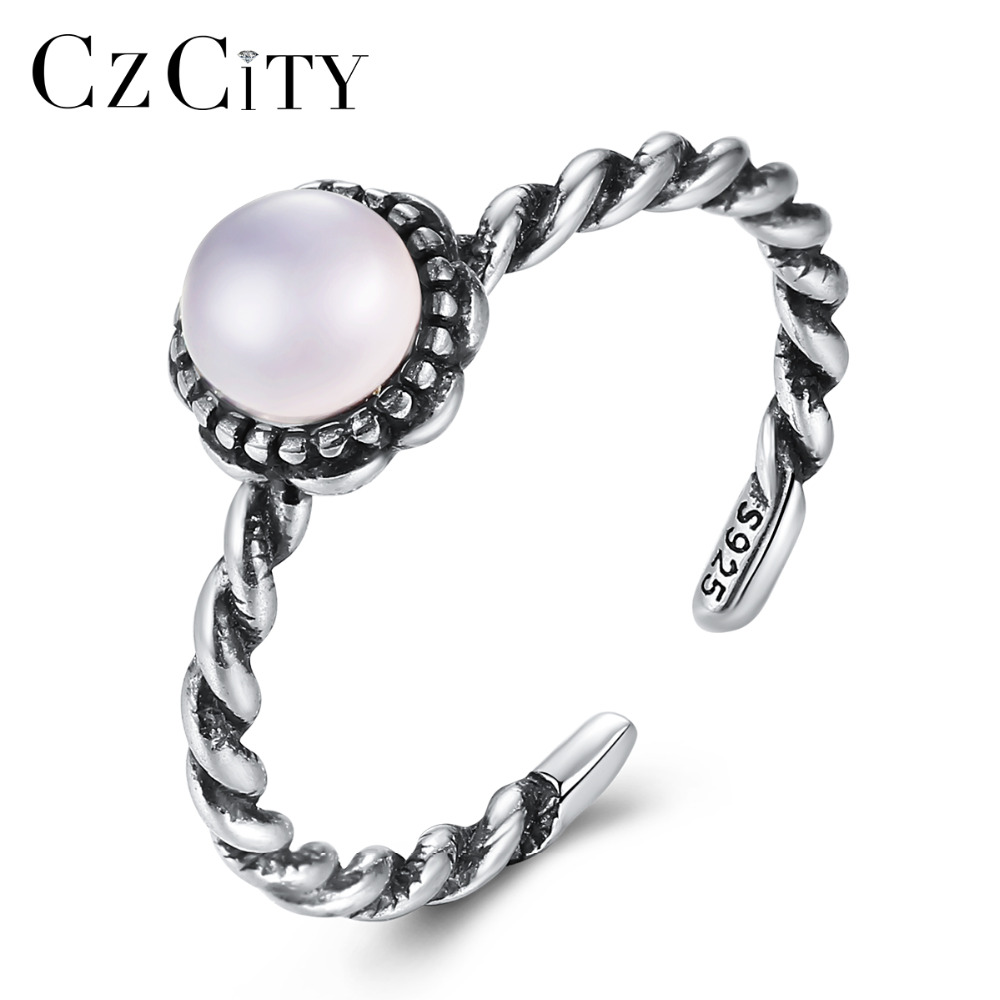 CZCITY 925 Sterling Silver Vintage Twist Design Open Rings for Women Round Crystal Fine Jewelry Wedding Ring Christmas Gift 2018CZCITY 925 Sterling Silver Vintage Twist Design Open Rings for Women Round Crystal Fine Jewelry Wedding Ring Christmas Gift 2018