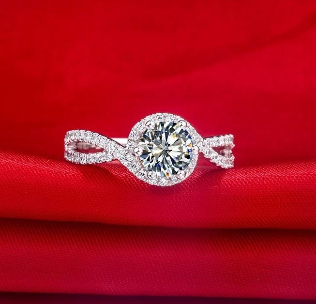 1Ct Forma della Pianta di Alta Qualità In Argento Sterling 925 Anello di Diamanti per Le Donne Classico di Anniversario Dei Monili del Regalo-in Anelli da Gioielli e accessori su  Gruppo 2