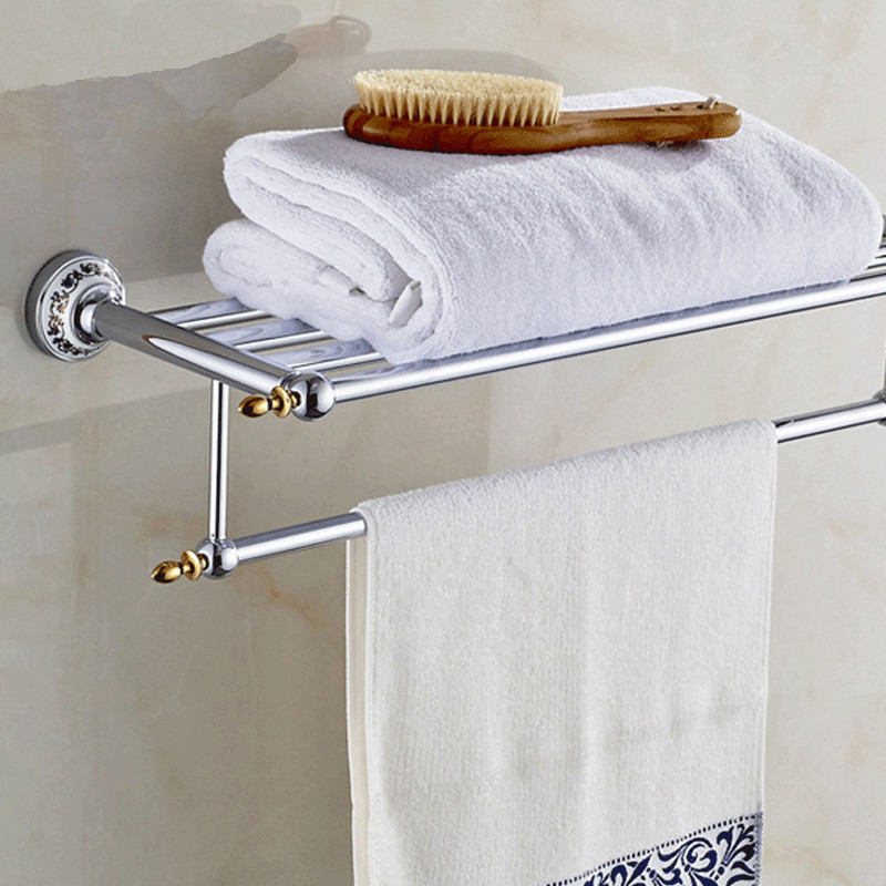Bathroom Shelves Metal Chrome Silver Wall Bath Shelf Holder For ...