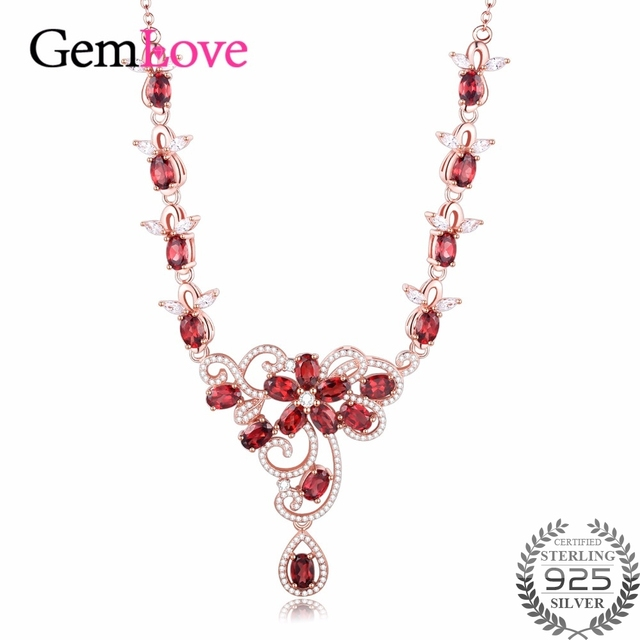 Gemlove 95ct Silver Garnet Necklaces for Women 925 Sterling Silver