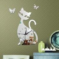 Hot Cute Cat Butterfly Mirror Silver Wall Clock Modern Design Watch Wall Sticker Home Decor Best