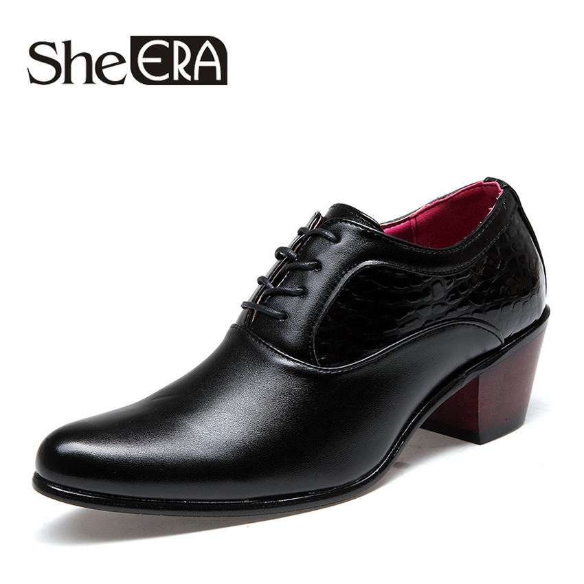 2018 New Patent Leather Men's Shoes Pointed Toe Mid Heel Business Men's Dress Wedding Shoes for Party size 38 43 Drop Shipping