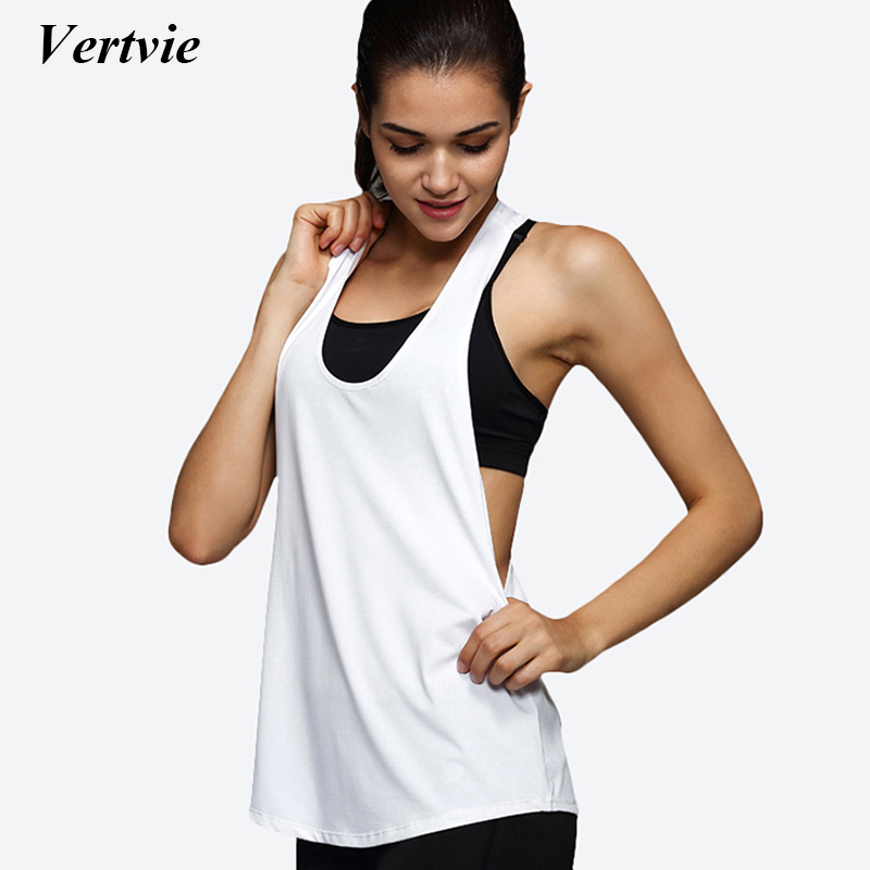 Vertvie 2018 Yoga Crop Top Women Sleeveless Backless Running Sports T Shirts Quick Dry Jogging Gym Fitness Tank Top Sportwear fashionable jewel neck backless fringe sleeveless tank top for women