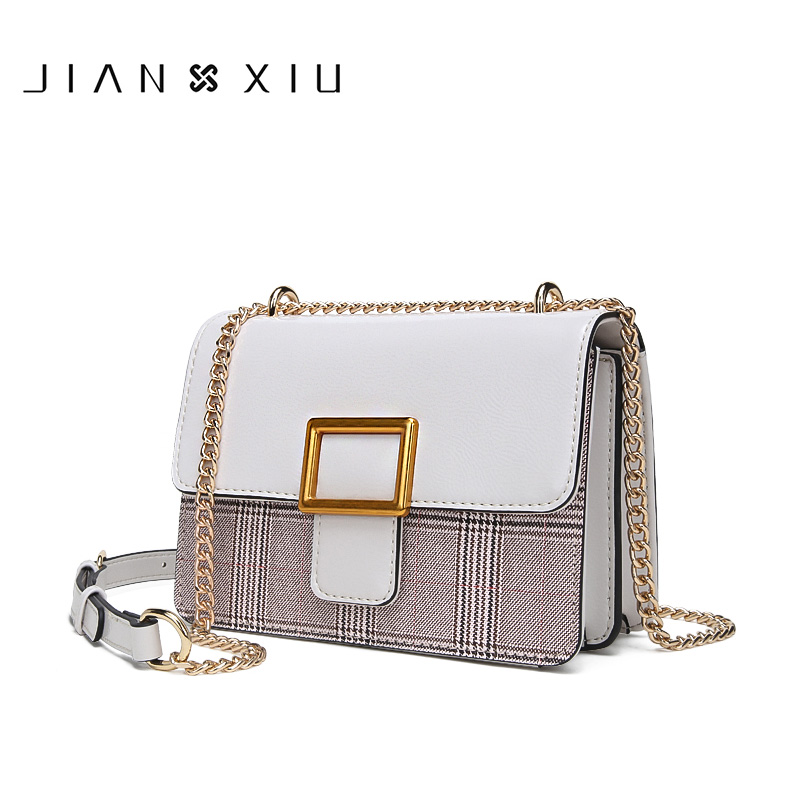 JIANXIU Brand Women Messenger Bags Female Lattice Texture Shoulder Crossbody Bags Chain Belt Strap 2019 New