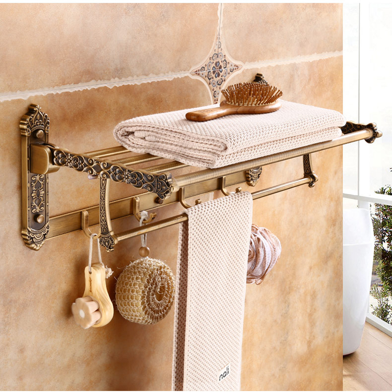 Antique Brass Bathroom Wall Mounted Towel Holder Swivel Towel Shelf Hangers Towel Bars aluminum wall mounted square antique brass bath towel rack active bathroom towel holder double towel shelf bathroom accessories