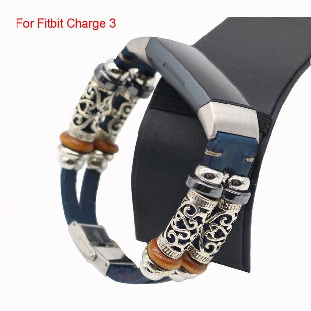 Pour Fitbit Charge 4 bandes en cuir véritable remplacement Bracelet de montre Bracelet pour Fitbit Charge 3 montre intelligente Bracelet de ceinture