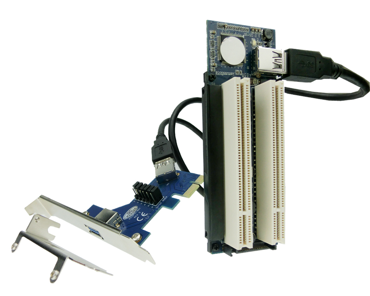 PCI-express X1 PCIe TO 2 PCI Adapter Router Dual PCI Slot Riser Card  Usb3.0 Low Profile Bracket