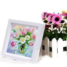 Diy Berlian mosaik pola Bordir pita bunga Lily dan botol kaca dmc stitch lukisan cross