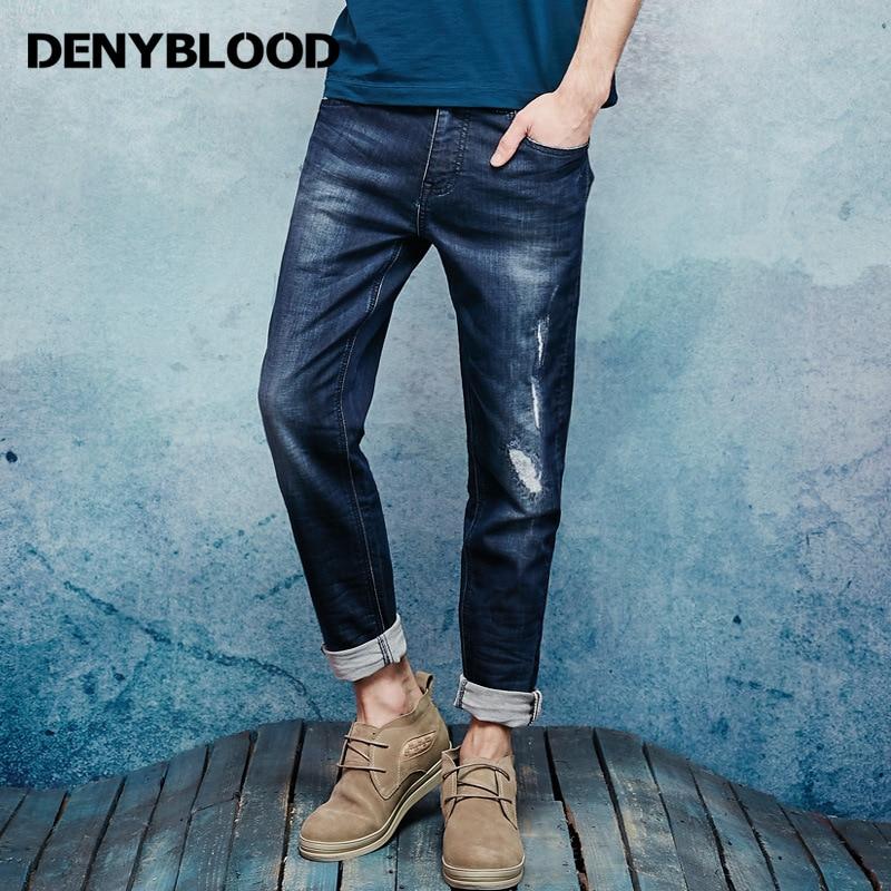 Denyblood Jeans Hommes Jeans Stretch Denim Tricot Mince Droite Pantalon Décontracté Broderie Affligé Jeans Déchirés Pantalon 16647 S