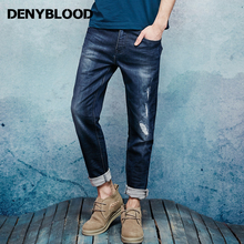 Denyblood Jeans Mens Jeans Stretch Knit Denim Slim Straight Casual Pants Embroidery Distressed Jeans Ripped Trousers 16647S