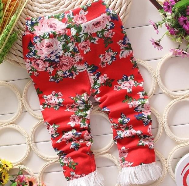 (1 Teile/los) 100% Baumwolle 2016 Rote Blume Baby Mädchen Leggings Aromatischer Charakter Und Angenehmer Geschmack
