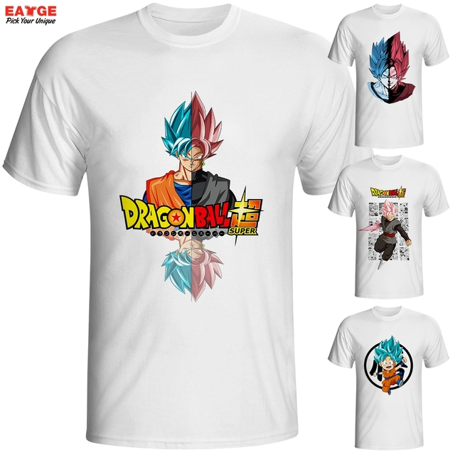 Dragon Ball Super Saiyan Rose T Shirt Japanese Anime Goku Black T-shirt Cool Fashion Cartoon Super Printed Tshirt Brand Men Tee