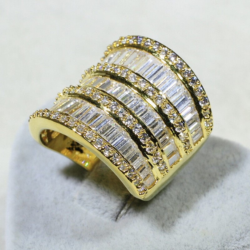 Vecalon Luxury Women ring Yellow Gold Filled AAAAA Zircon Cz 925 Sterling Silver Big Jewelry Engagement