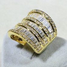 Vecalon Роскошные Женщины кольцо Желтого Золота Заполненные AAAAA Циркон Cz Стерлингового Серебра 925 Большой Ювелирные Изделия Обручальное Обручальное кольцо