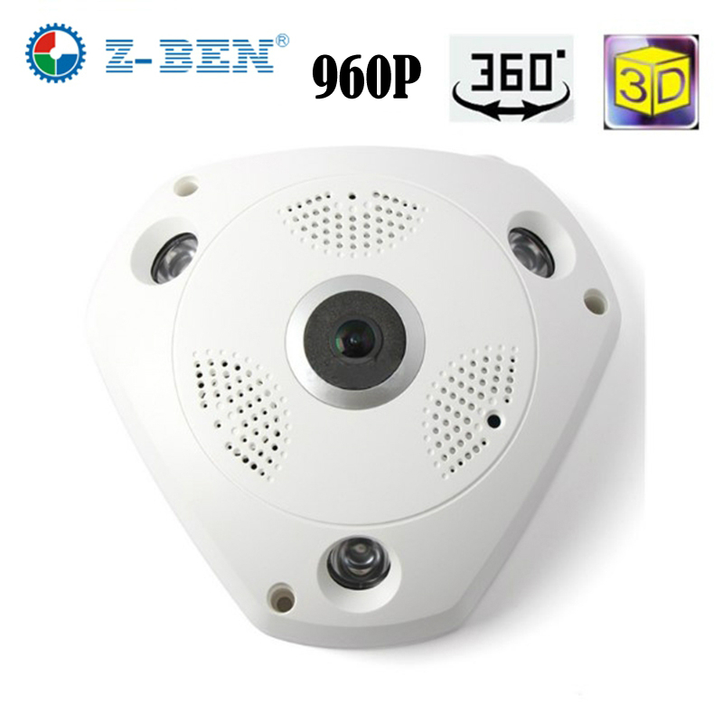 2018 Z-BEN 1280*960 360 Degree Fisheye Panoramic Camera HD Wireless VR Panorama HD IP camera P2P Indoor Cam Security WiFi Camera insta360 air 3k hd 360 camera dual lens panoramic camera compact mini vr camera for samsung oppo huawei lg andriod smartphone