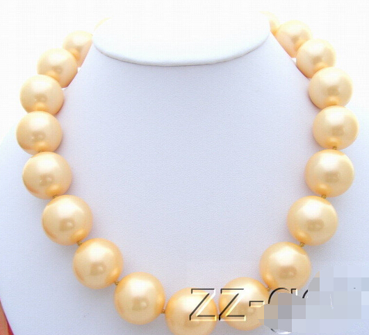 free shipping 16mm Golden Sea Shell Pearl Necklace AAA style Fine Noble real Natural