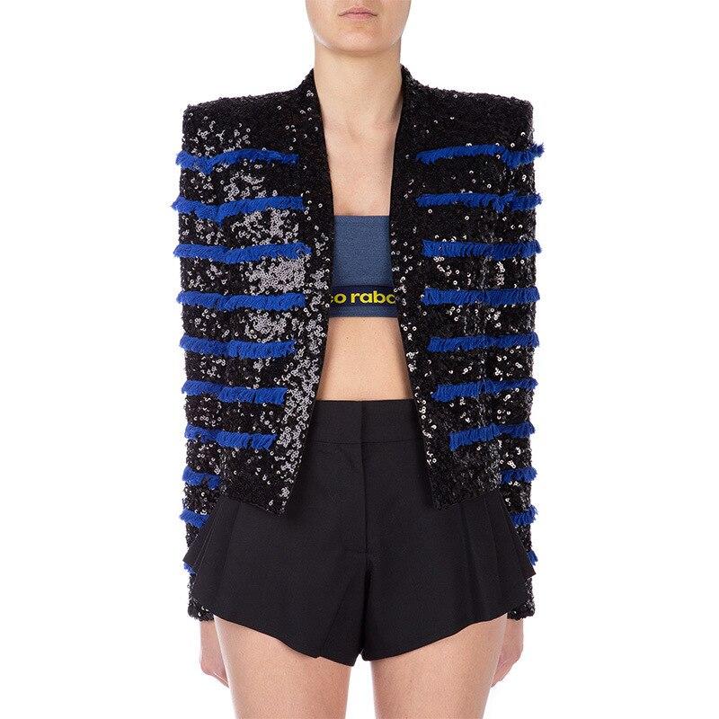 Design de luxe européen automne vêtements de mode femmes paillettes gland Cardigan vestes court mince manteau de haute qualité