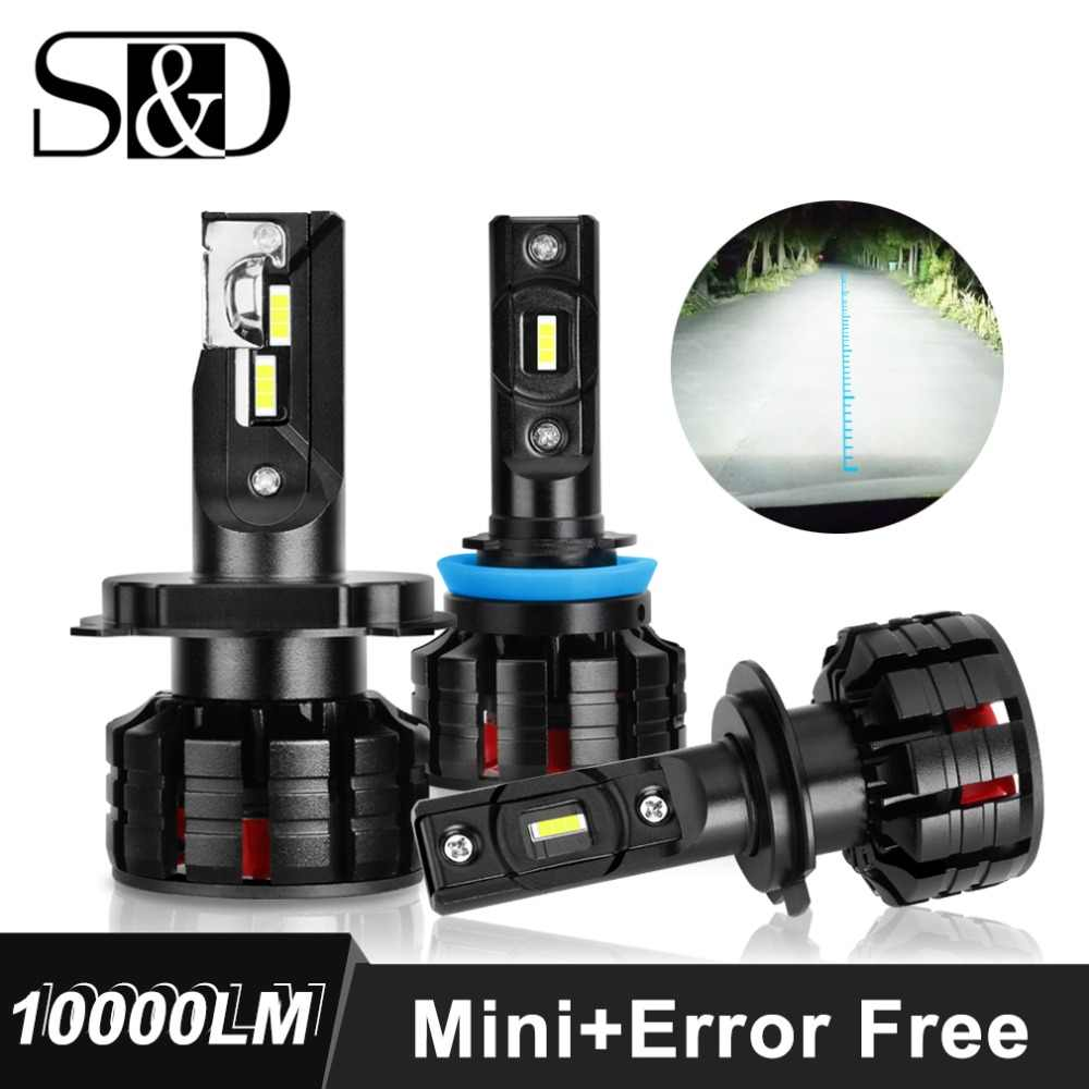 2pcs H1 H4 H7 LED H11 H3 HB3 9005 HB4 9006 LED Car Headlight Bulbs Canbus Error Free 10000LM 6000K Mini Auto Headlamp 12V 24V