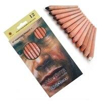 12 шт Профессиональные мягкие пастельные карандаши Дерево оттенок кожи пастельные цветные карандаши