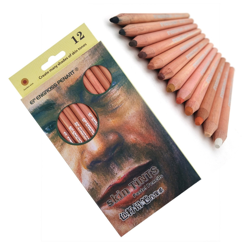 12Pcs Professional Soft Pastel Pencils Wood Skin Tint Pastel Colored Pencil
