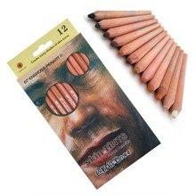 Lápis pastel macios profissionais de madeira, lápis colorido com 12 peças